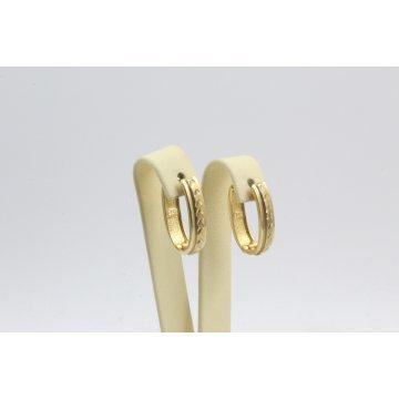 Дамски златни обеци гравирани халки елипса жълто злато 4102