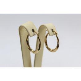 Дамски златни обеци халки усукани жълто злато 4102