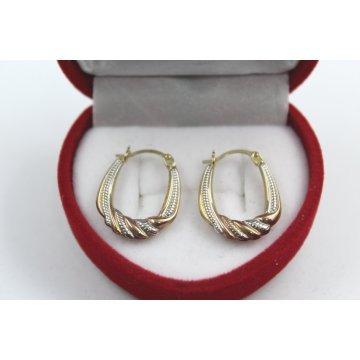 Дамски златни обеци халки жълто бяо и розово злато 4102