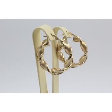 Дамски златни обеци усукани халки жълто злато гравирани 4103