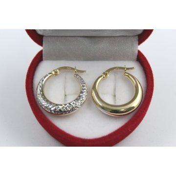 Дамски златни обеци халки жълто бяло злато 4103