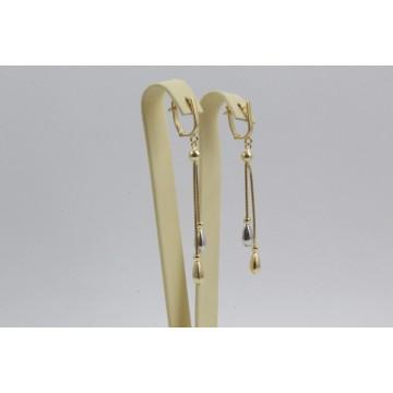 Дамски златни висящи обеци бяло жълто злато 4105