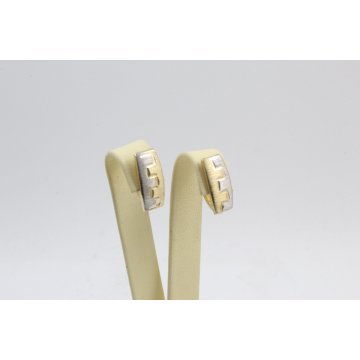 Дамски златни обеци по ухото бяло жълто злато 4106