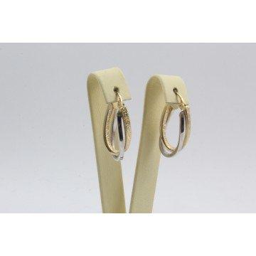 Дамски златни обеци халки бяло жълто злато 4109