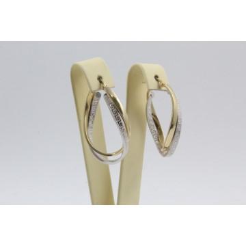 Дамски златни обеци халки бяло жълто злато 4110
