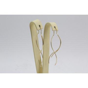 Дамски златни висящи обеци бяло жълто розово злато 4110