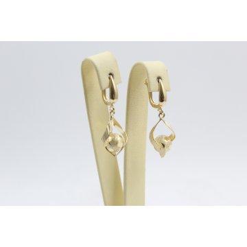 Дамски златни висящи обеци жълто злато 4110
