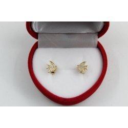 Златни обеци лястовици жълто злато бели камъни 4110