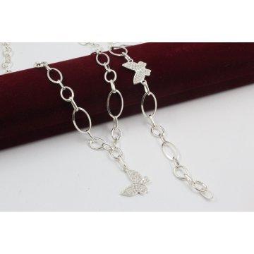 Дамски сребърен комплект Пеперудки колие и гривна 4117