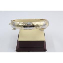 Златна женска твърда гривна бяло и жълто злато 4118