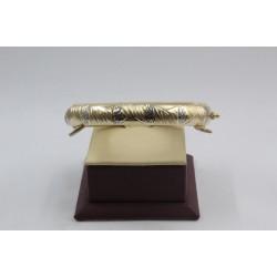 Златна дамска твърда гривна бяло и жълто злато 4122