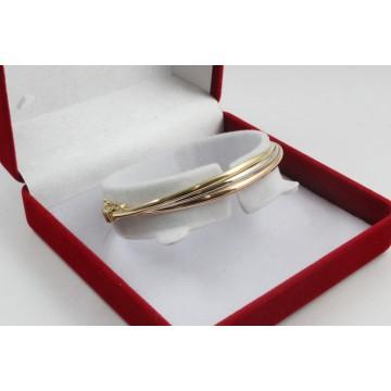 Златна женска твърда гривна бяло розово и жълто злато 4127