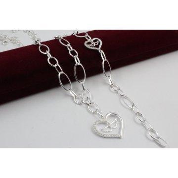 Дамски сребърен комплект Крилете на Любовта колие гривна 4128