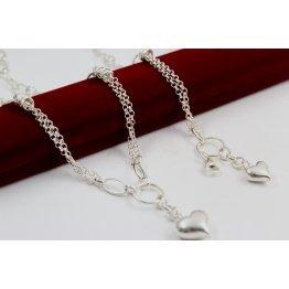 Дамски сребърен комплект Сърце колие гривна 4140