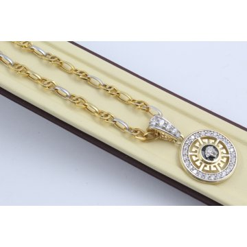 Дамско златно колие Горгона Медуза бяло жълто злато бели камъни 4147