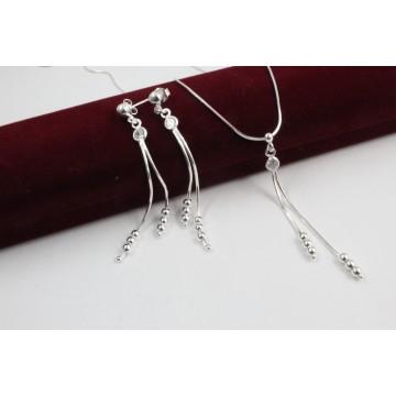 Сребърен дамски комплект с бели камъни колие обеци 4161