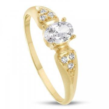 Дамски златен годежен пръстен с бели камъни 4174