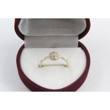Дамски златен годежен пръстен  бели камъни 4178