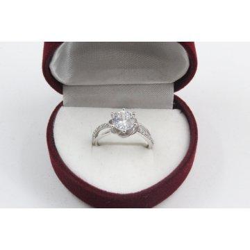 Дамски златен годежен пръстен Еделвайс бяло злато 4179