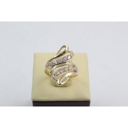 Златен дамски пръстен жълто злато бели камъни 4181