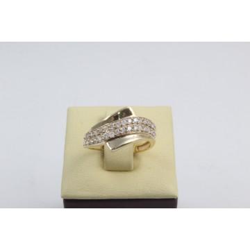 Златен дамски пръстен жълто злато бели камъни 4182