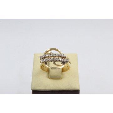 Златен дамски пръстен жълто злато бели камъни 4183