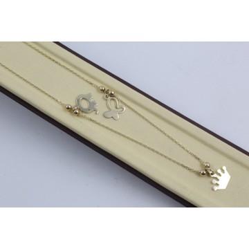 Дамско златно колие с медальони корона слонче пеперуда 4187