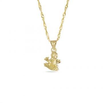 Златно дамско колие с медальон жаба 4189