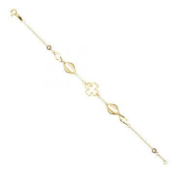 Златна дамска гривна с Четирилистна Детелина бяло жълто злато 4190