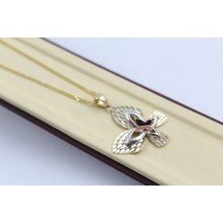 Дамско златно колие с пеперуда бяло жълто розово злато 4192