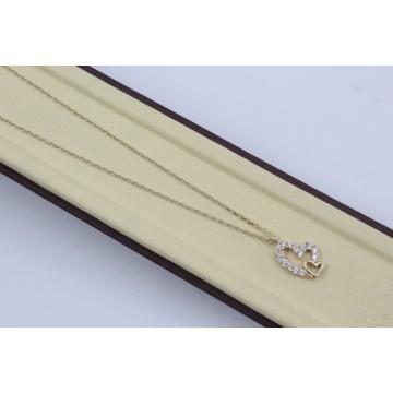 Дамско златно колие със златно сърце жълто злато бели камъни 4193
