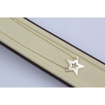 Дамско златно колие със златна звезда жълто злато 4197