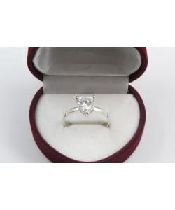 Дамски сребърен годежен пръстен с бял камък 4200
