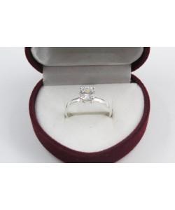 Дамски сребърен годежен пръстен с бял камък 4202