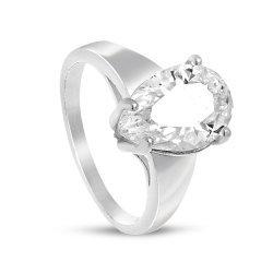Дамски сребърен годежен пръстен с бял камък 4204