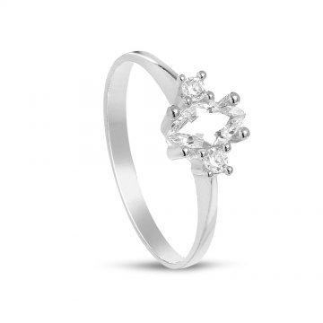 Дамски сребърен годежен пръстен с бели камъни 4205
