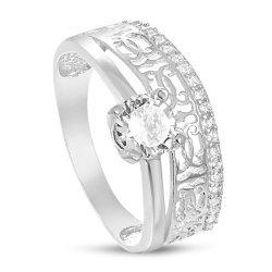 Дамски сребърен годежен пръстен с бели камъни 4206