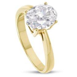 Дамски златен годежен пръстен жълто злато бял камък 4211