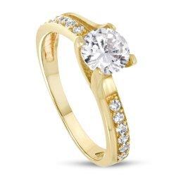 Дамски златен годежен пръстен жълто злато бял камък 4212
