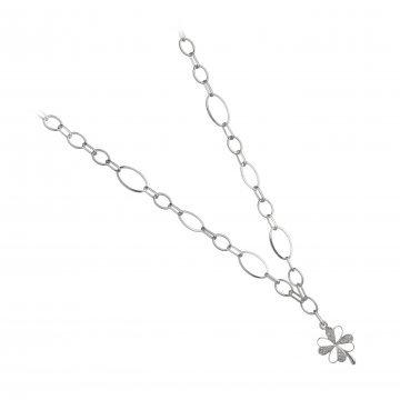 Дамско сребърно колие Детелина бели камъни 4218