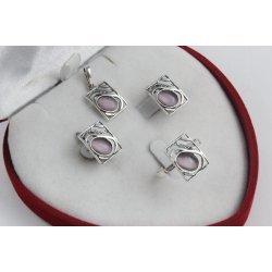 Дамски сребърен комплект Лунна Нощ обеци пръстен медальон 4221