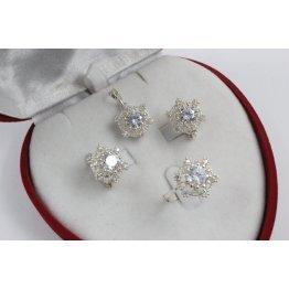 Дамски сребърен комплект с бели камъни Снежинка обеци пръстен медальон 4225