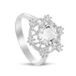Дамски сребърен пръстен с бели камъни Снежинка 4228