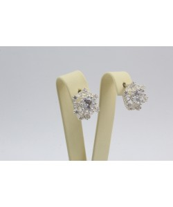 Дамски сребърни обеци с бели камъни Снежинка 4226