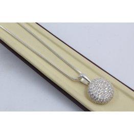 Дамско сребърно колие с бели камъни Слънце 4231