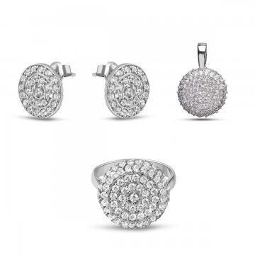 Дамски сребърен комплект с бели камъни Слънце обеци пръстен медальон 4229