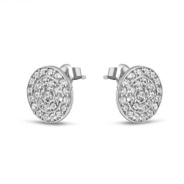 Дамски сребърни обеци с бели камъни Слънце 4230