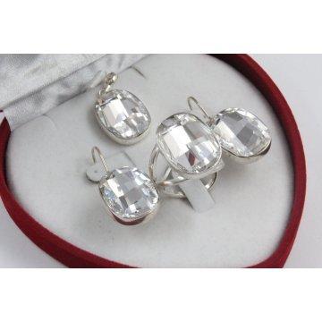 Сребърен дамски комплект със Swarovski Elements Бял 4233