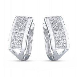 Сребърни дамски обеци с бели камъни 4234