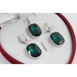 Сребърен дамски комплект със Swarovski Elements Зелен 4237